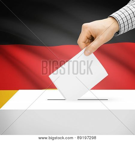 Voting Concept - Ballot Box With National Flag On Background - Germany