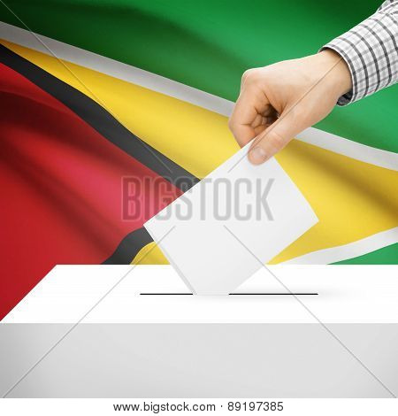 Voting Concept - Ballot Box With National Flag On Background - Guyana