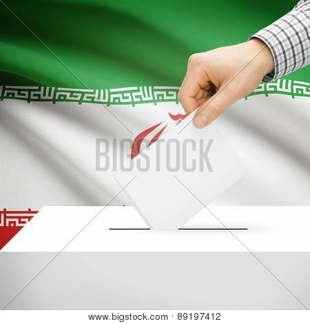Voting Concept - Ballot Box With National Flag On Background - Iran