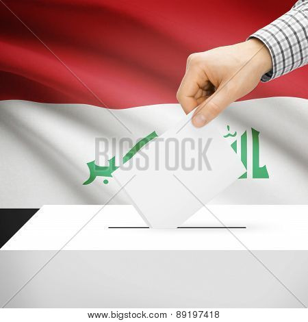 Voting Concept - Ballot Box With National Flag On Background - Iraq