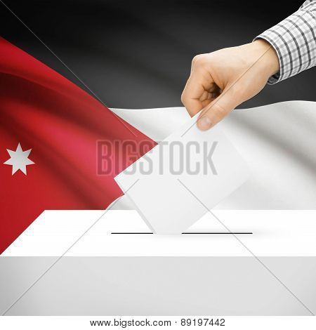 Voting Concept - Ballot Box With National Flag On Background - Jordan