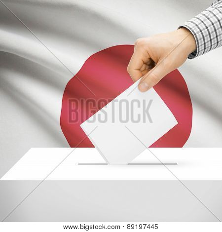 Voting Concept - Ballot Box With National Flag On Background - Japan