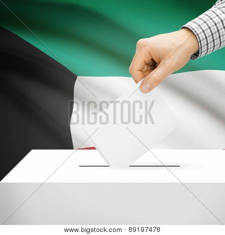Voting Concept - Ballot Box With National Flag On Background - Kuwait