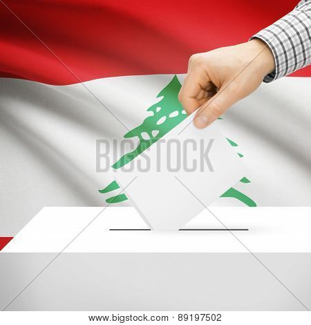 Voting Concept - Ballot Box With National Flag On Background - Lebanon