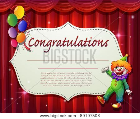 Certificate with clown and balloons background