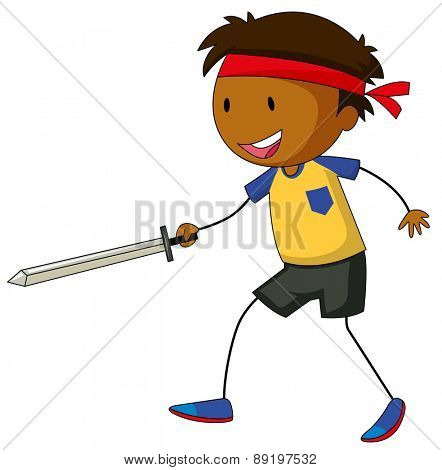 Close up boy holding a sword fighting