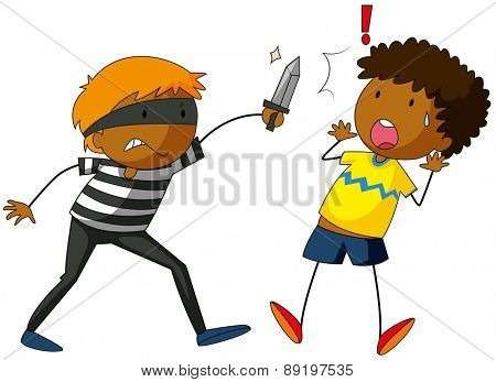 Robber with a knife attacking a victim