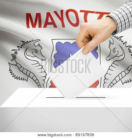 Voting Concept - Ballot Box With National Flag On Background - Mayotte