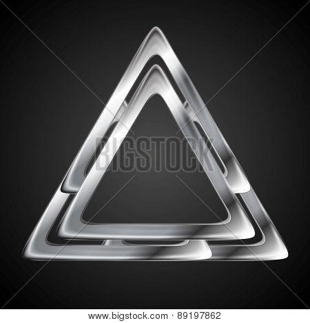Abstract metallic triangle logo design template. Vector background