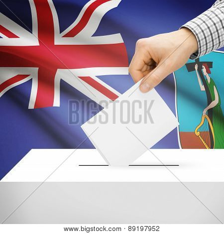 Voting Concept - Ballot Box With National Flag On Background - Montserrat