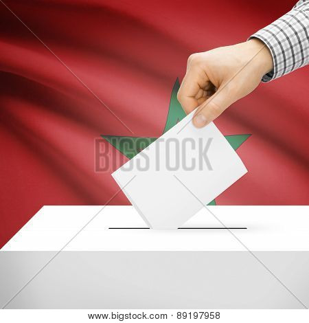 Voting Concept - Ballot Box With National Flag On Background - Morocco