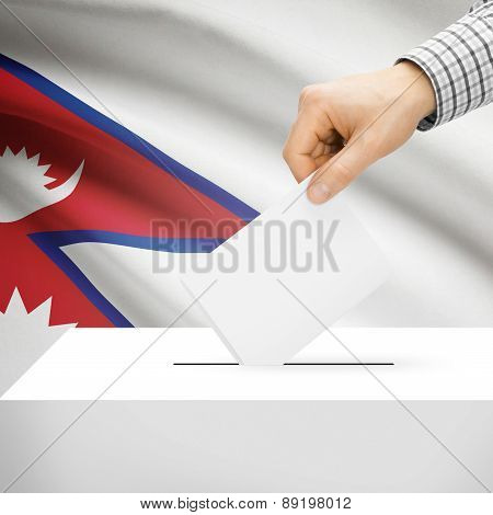 Voting Concept - Ballot Box With National Flag On Background - Nepal