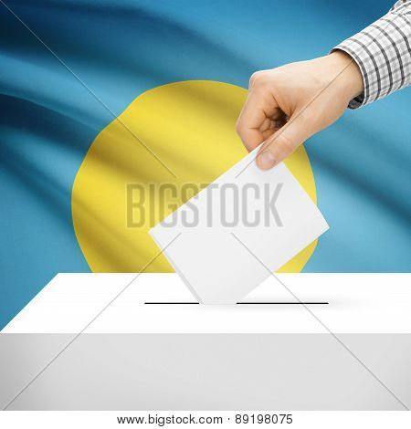 Voting Concept - Ballot Box With National Flag On Background - Palau