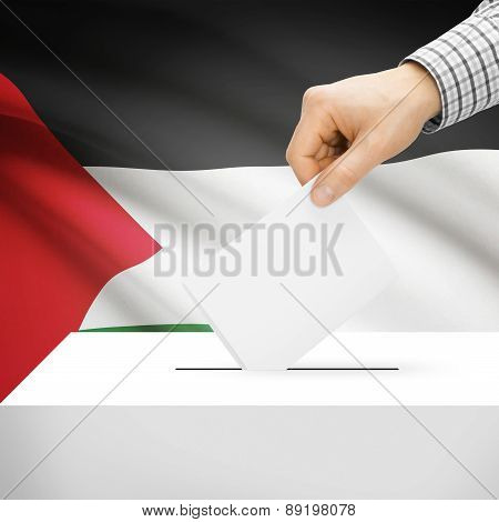 Voting Concept - Ballot Box With National Flag On Background - Palestine