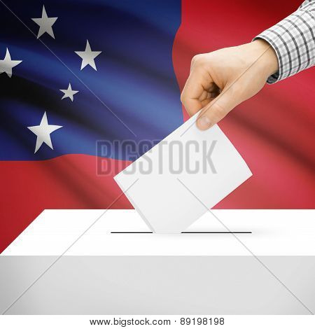 Voting Concept - Ballot Box With National Flag On Background - Samoa