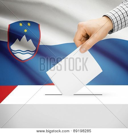 Voting Concept - Ballot Box With National Flag On Background - Slovenia