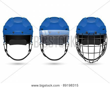 Blue hockey helmet in three varieties