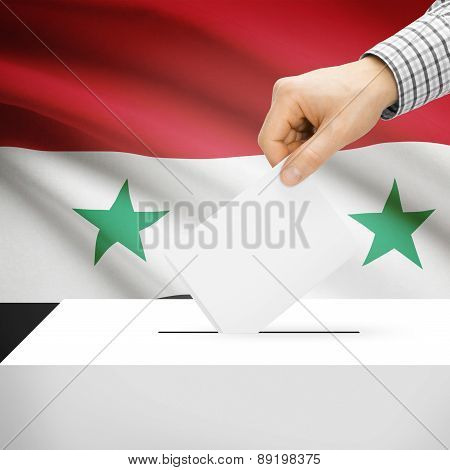 Voting Concept - Ballot Box With National Flag On Background - Syria