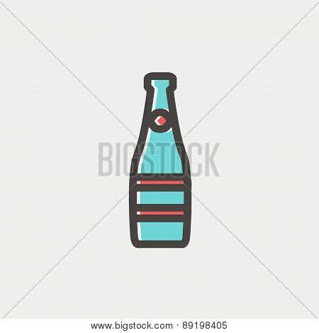 Champagne bottle thin line icon
