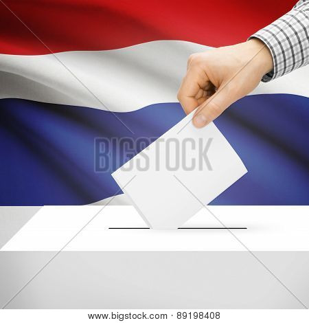 Voting Concept - Ballot Box With National Flag On Background - Thailand