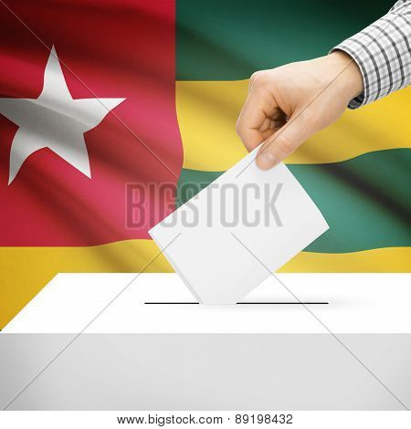 Voting Concept - Ballot Box With National Flag On Background - Togo
