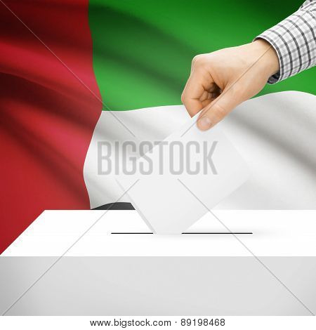 Voting Concept - Ballot Box With National Flag On Background - United Arab Emirates
