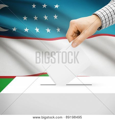 Voting Concept - Ballot Box With National Flag On Background - Uzbekistan