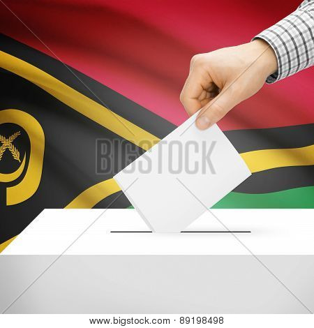 Voting Concept - Ballot Box With National Flag On Background - Vanuatu