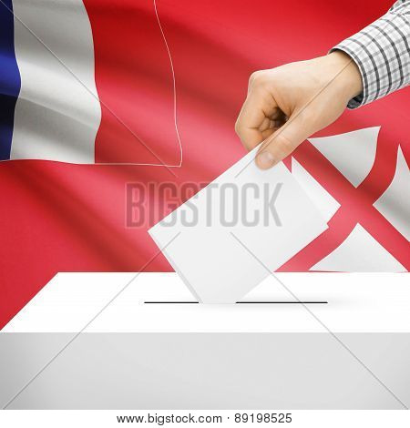 Voting Concept - Ballot Box With National Flag On Background - Wallis And Futuna