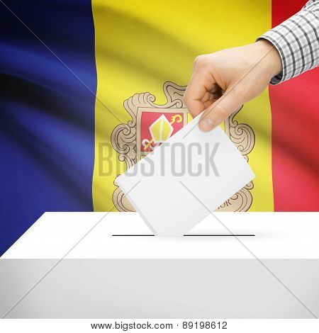 Voting Concept - Ballot Box With National Flag On Background - Andorra