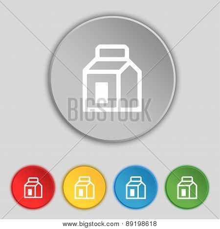 Milk, Juice, Beverages, Carton Package Icon Sign. Symbol On Five Flat Buttons. Vector