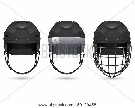 Black hockey helmet in three varieties