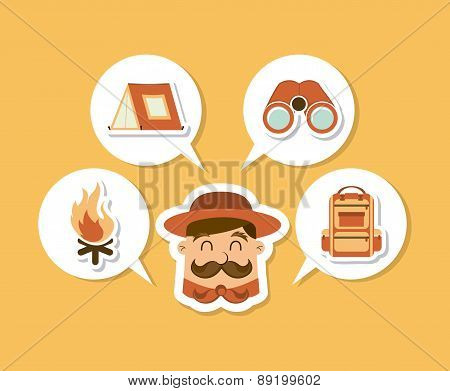 camping design over cream background vector illustration