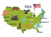 map of USA with typical features poster
