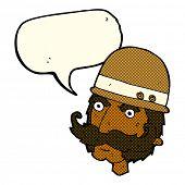stock photo of hunter  - cartoon victorian big game hunter with speech bubble - JPG