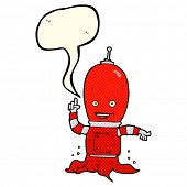 stock photo of spaceman  - cartoon alien spaceman with speech bubble - JPG