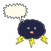picture of lightning bolt  - cartoon cloud and lightning bolt symbol with speech bubble - JPG