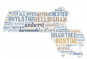 stock photo of state shapes  - Word Cloud in the shape of Massachusetts showing some of the cities in the state - JPG