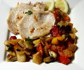 picture of pork cutlet  - grilled pork steak whit vegetables on white platter - JPG