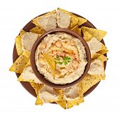 pic of pita  - Healthy homemade hummus with olive oil and pita chips isolated on white background - JPG