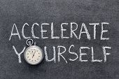 image of acceleration  - accelerate yourself phrase handwritten on chalkboard with vintage precise stopwatch used instead of O - JPG