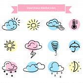 pic of windy weather  - Hand drawn weather vector icons - JPG