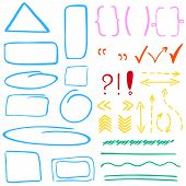 foto of oval  - Set of hand drawn correction elements - JPG