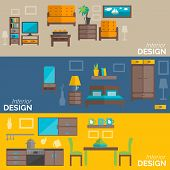 picture of flat-bed  - Home interior design for kitchen bed and sitting rooms furnishing flat banners set abstract isolated vector illustration - JPG