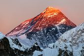 stock photo of nepali  - Evening view of Mount Everest from gokyo valley way to Mount Everest base camp Sagarmatha national park Khumbu Nepal - JPG