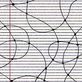 stock photo of lined-paper  - Hand drawn illustration of curved lines on a sheet of lined paper - JPG