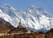 image of sherpa  - Stupa near Namche Bazar and Mount Everest Lhotse and Nuptse  - JPG