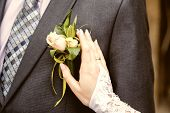 stock photo of boutonniere  - hang of a bride adjusting boutonniere on grooms jacket - JPG
