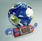 image of time-bomb  - time bomb with a world globe concept of world crisis  - JPG