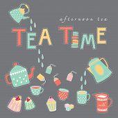 picture of tea party  - Tea time afternoon tea doodle illustration pastel color vector on dark grey background teapot tea cup tea bag cake - JPG